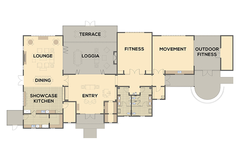 Twin Oaks' commitment to Health & Wellness, Social Connection, and Lifelong Learning is reflected in the space plan of the Club, with thoughtfully designed areas addressing each of these important priorities.
