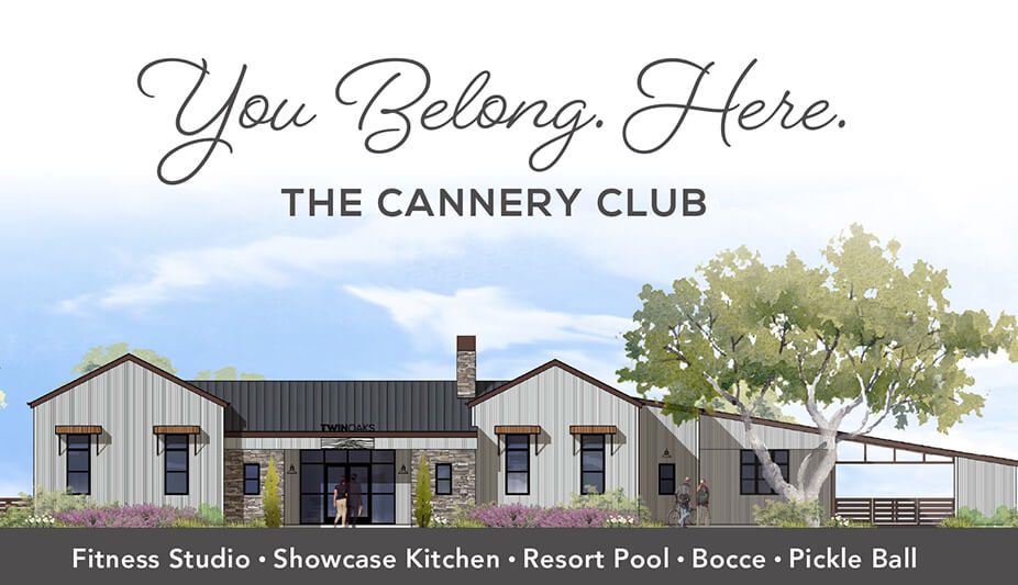 "The architects from William Hezmalhalch Architects, Inc. took inspiration from the buildings of Hollister, and used those forms and shapes to make The Cannery Club at Twin Oaks feel both ""of the place"" and completely in line with the style of today."